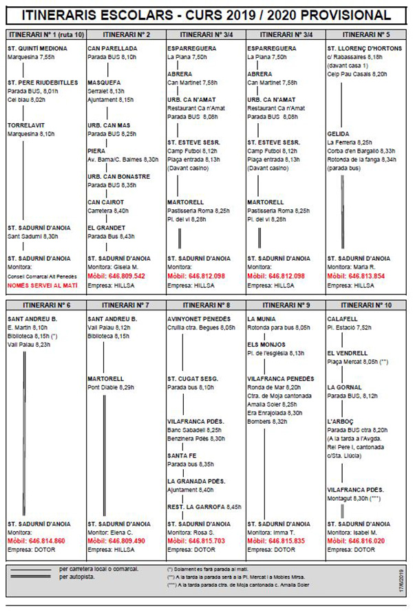 Itineraris autocar 2019-2020 provisional