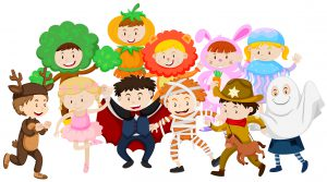 Kids dressing up in different costumes illustration
